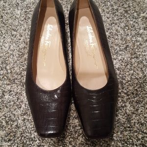 Salvatore Ferragamo Brown Leather Crocodile Heels